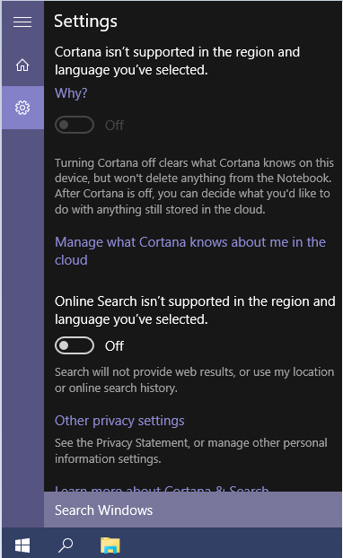 Windows 10 Privacy Cortana