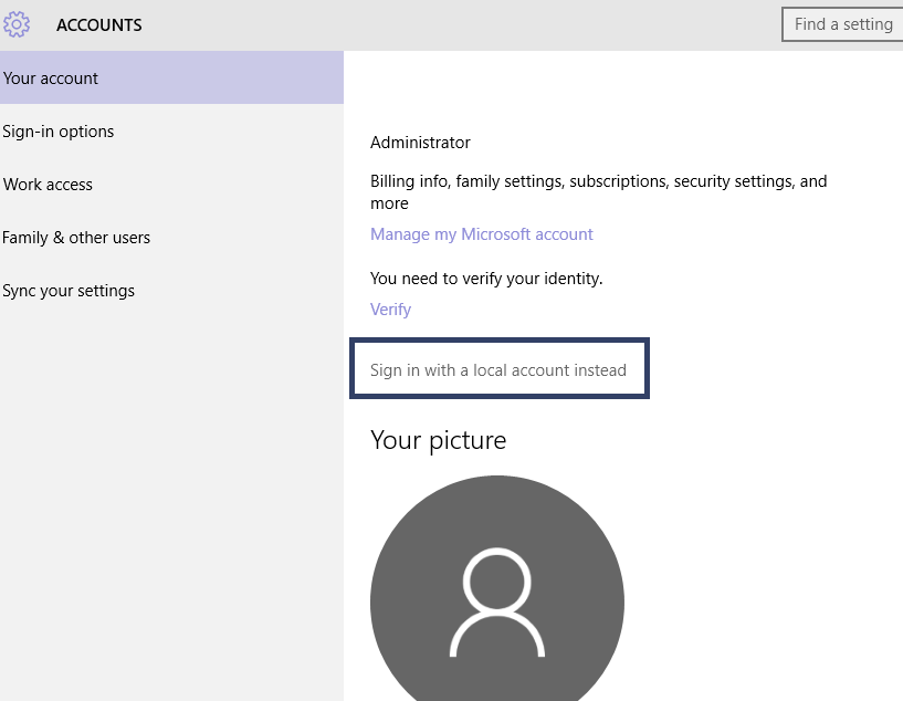 Windows 10 Privacy Local Accounts