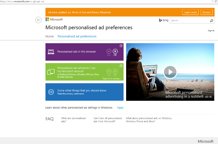 Windows 10 Privacay Ads