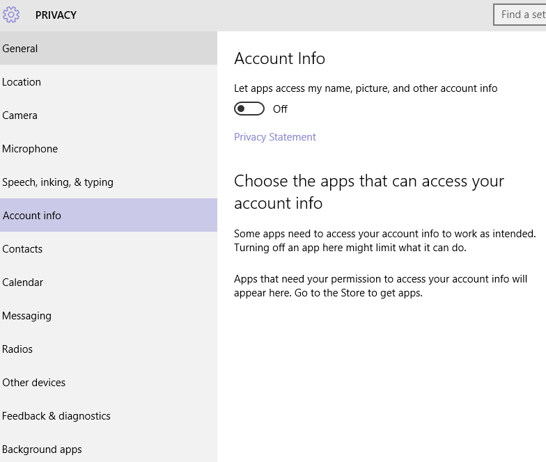Windows 10 Privacy Account